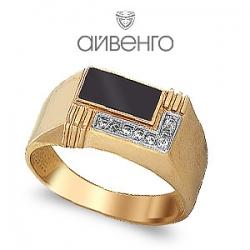 Золотое мужское кольцо с эмалью, фианитами