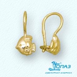 Детские серьги Рыбки из желтого золота