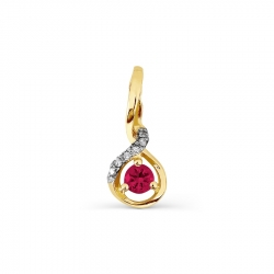 Подвеска из желтого золота с рубином и бриллиантом
