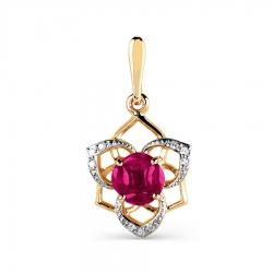 Золотая подвеска с рубинами, бриллиантами