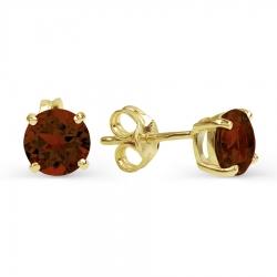 Серьги-гвоздики из желтого золота с гранатом