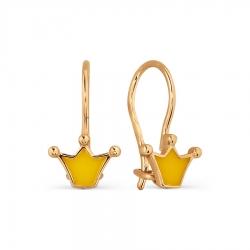 Золотые серьги Корона с эмалью