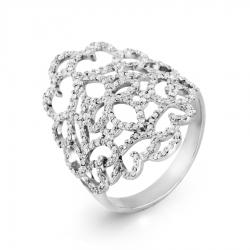 Кольцо Ажур из белого золота с фианитами