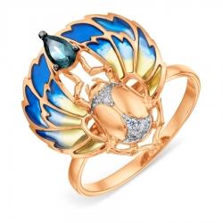 Золотое кольцо с эмалью и топазом Лондон, фианитами