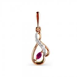 Золотая подвеска с рубином, бриллиантами