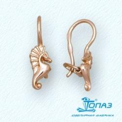 Детские золотые серьги Морские коньки
