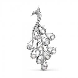 Подвеска Жар птица из белого золота с бриллиантами