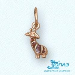Детская золотая подвеска Жираф с эмалью