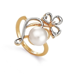 Золотое кольцо Цветок с белым жемчугом, фианитом