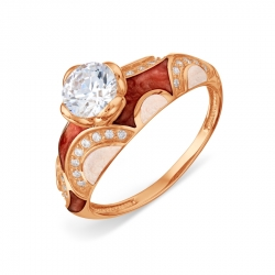 Золотое кольцо с эмалью и Swarovski Zirconia
