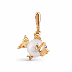 Золотая подвеска Рыбка с белым жемчугом, фианитами