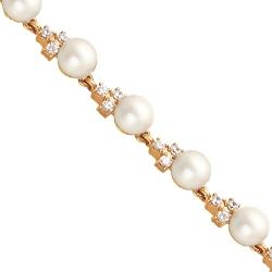Золотой браслет с белым жемчугом и фианитами