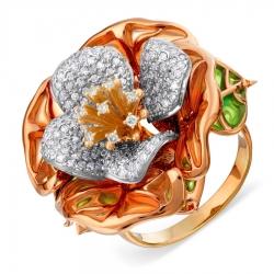 Золотое кольцо с эмалью и бриллиантом