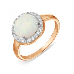 Золотое кольцо с опалом, фианитами