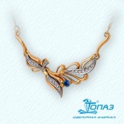 Золотое колье Флора с сапфиром, бриллиантами