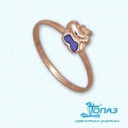 Детское золотое кольцо Бегемотик с эмалью