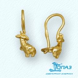 Детские серьги Жирафы из желтого золота