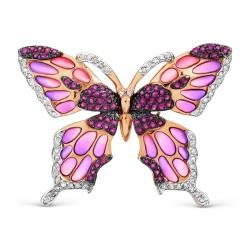 Золотая брошка Бабочка с эмалью, рубином и бриллиантом