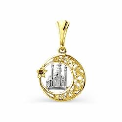 Мусульманская подвеска из желтого золота с фианитом