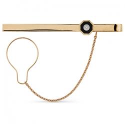 Золотой зажим для галстука с бриллиантами, ониксом
