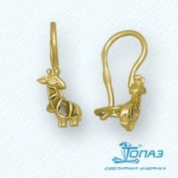 Детские серьги Жираф из желтого золота с эмалью