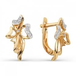 Золотые серьги Бантики с фианитами