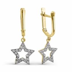 Серьги Звезды из желтого золота с фианитами