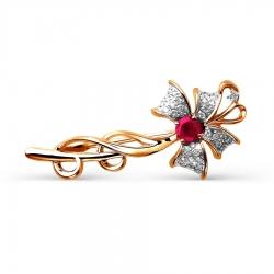 Золотая брошка Бантик с рубином и бриллиантом