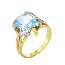Эксклюзивное кольцо из золота с натуральным топазом и бриллиантами