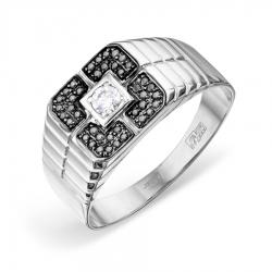 Мужское кольцо из белого золота с Swarovski Zirconia и черными бриллиантами