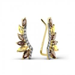 Серьги из желтого золота с раухтопазами, цитринами, фианитами