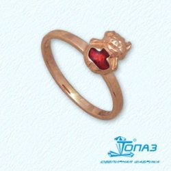 Детское золотое кольцо Поросенок с эмалью