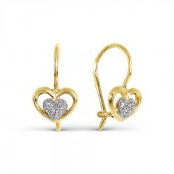 Серьги Сердце из желтого золота с фианитами