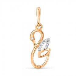 Золотая подвеска Лебедь с бриллиантами