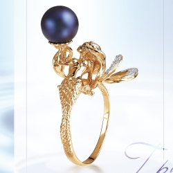 Золотое кольцо Растения с черным жемчугом, бриллиантами