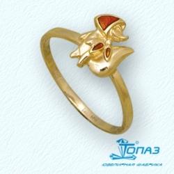 Детское кольцо Лисичка из желтого золота с эмалью