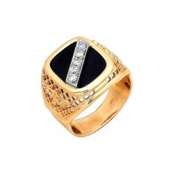 Кольцо-печатка из золота с бриллиантами и фианитом