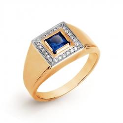 Мужское золотое кольцо с сапфиром ГТ и бриллиантом
