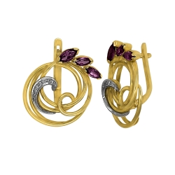 Эксклюзивные серьги из золота с родолитами и бриллиантами