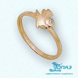 Детское золотое кольцо Птица с фианитом