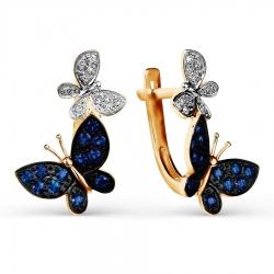 Золотые серьги Бабочки с сапфирами, бриллиантами