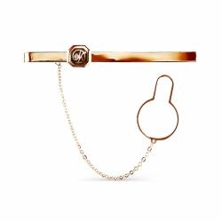 Золотой зажим для галстука с эмалью, фианитом