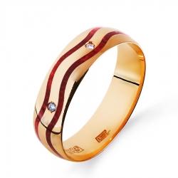 Золотое кольцо обручальное с бриллиантами, эмалью