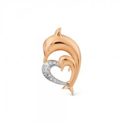 Золотая подвеска Дельфин с бриллиантами