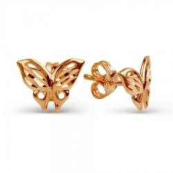 Золотые пусеты Бабочки