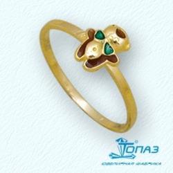 Детское кольцо Мишка из желтого золота с эмалью