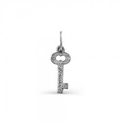 Подвеска Ключ из белого золота с бриллиантами