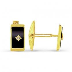 Запонки из желтого золота с ониксами, фианитами