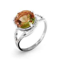 Кольцо из белого золота с султанитом ситалл, фианитами