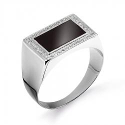 Мужское кольцо из белого золота с бриллиантами, эмалью